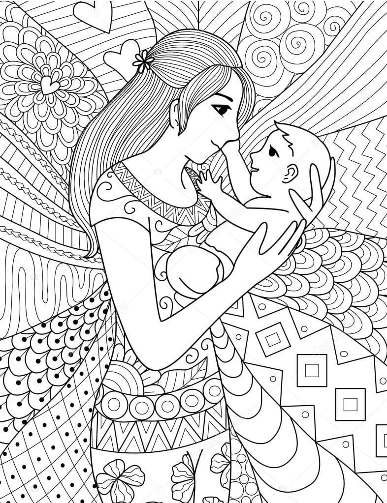 Mãe, Segurando Seu Bebê, Linha Limpa Doodle Arte Desenho Para