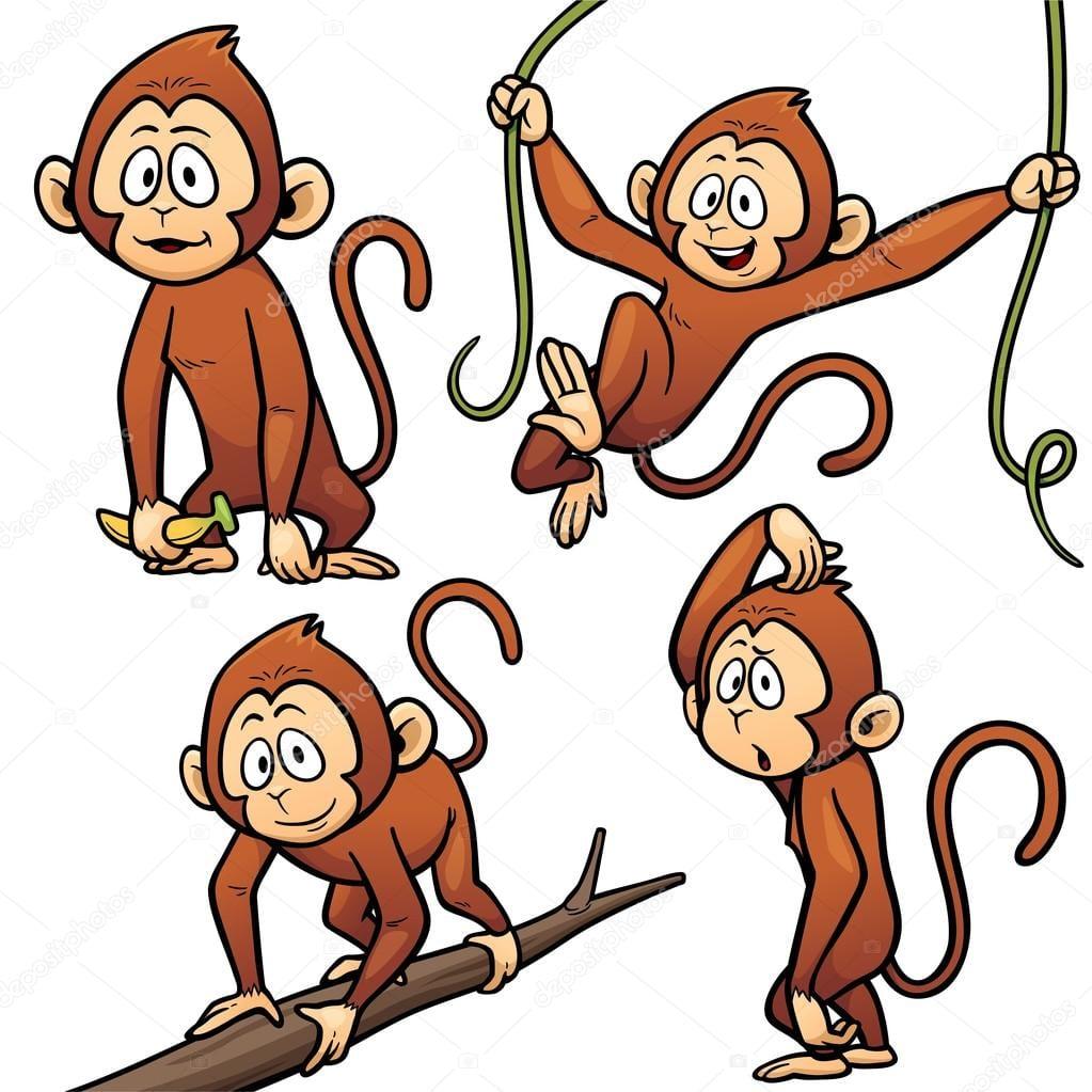 Personagem De Desenho Animado Macaco — Vetor De Stock © Sararoom