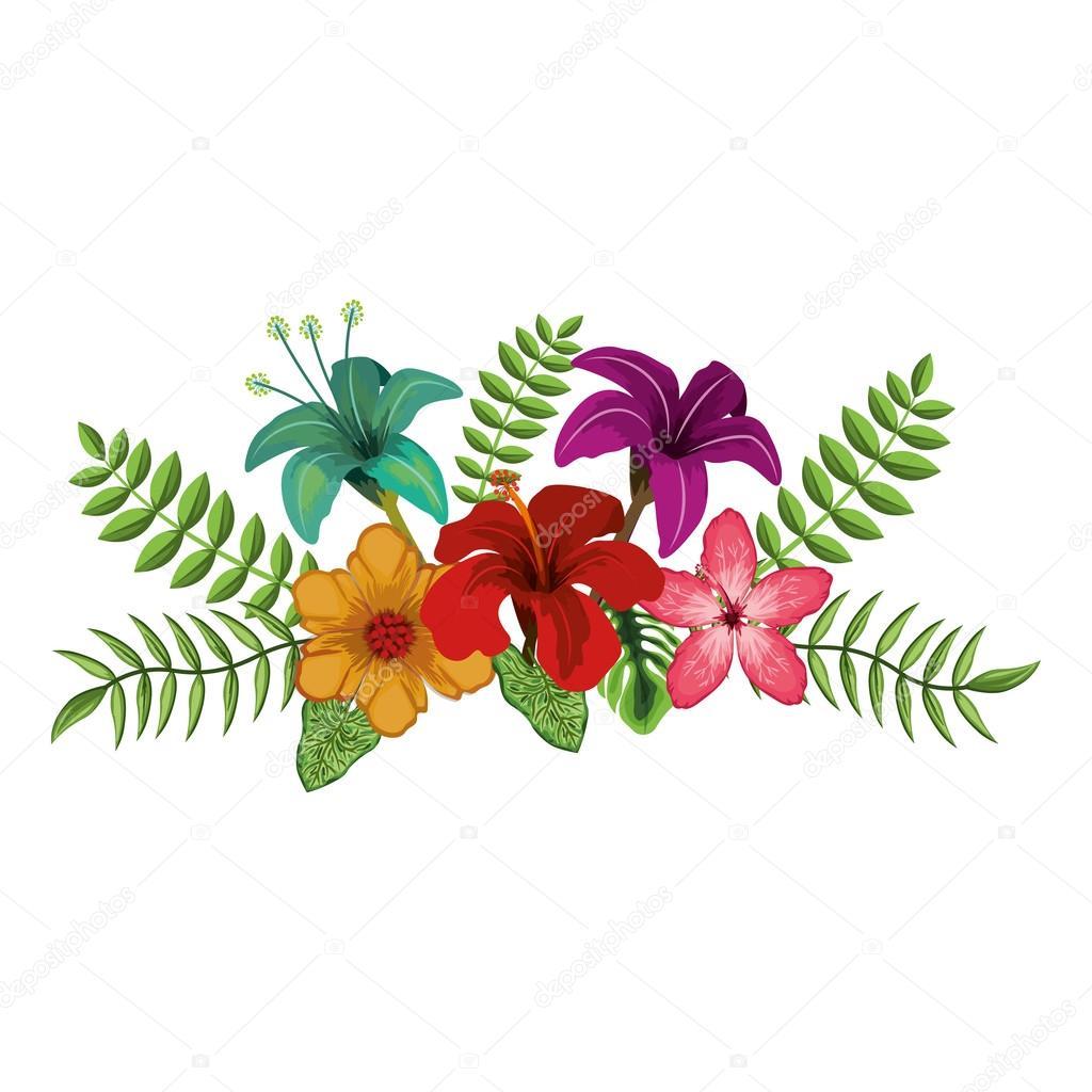 Desenho De Flores Tropicais — Vetor De Stock © Grgroupstock  127912122