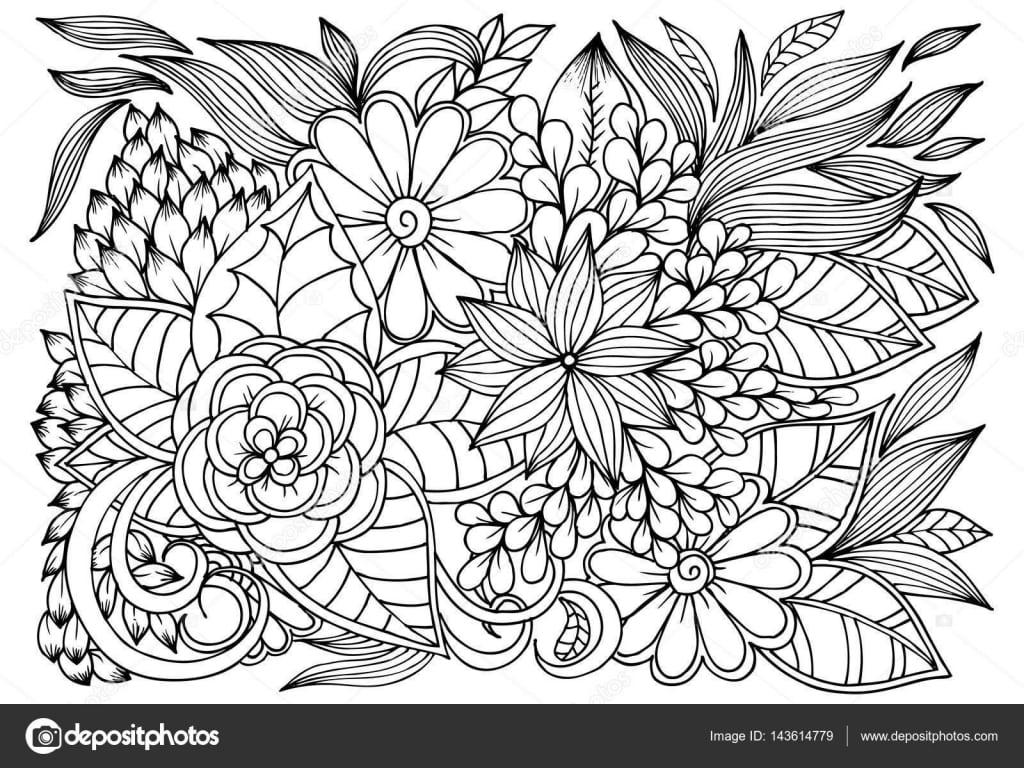 Vetor Desenho De Borboletas E O Teste Padrão De Flor Para Colorir