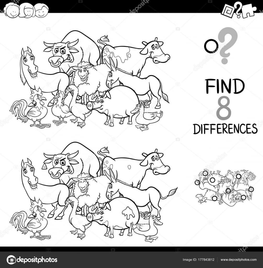 Jogo De Diferenças Com Animais Da Fazenda Para Colorir — Vetor De