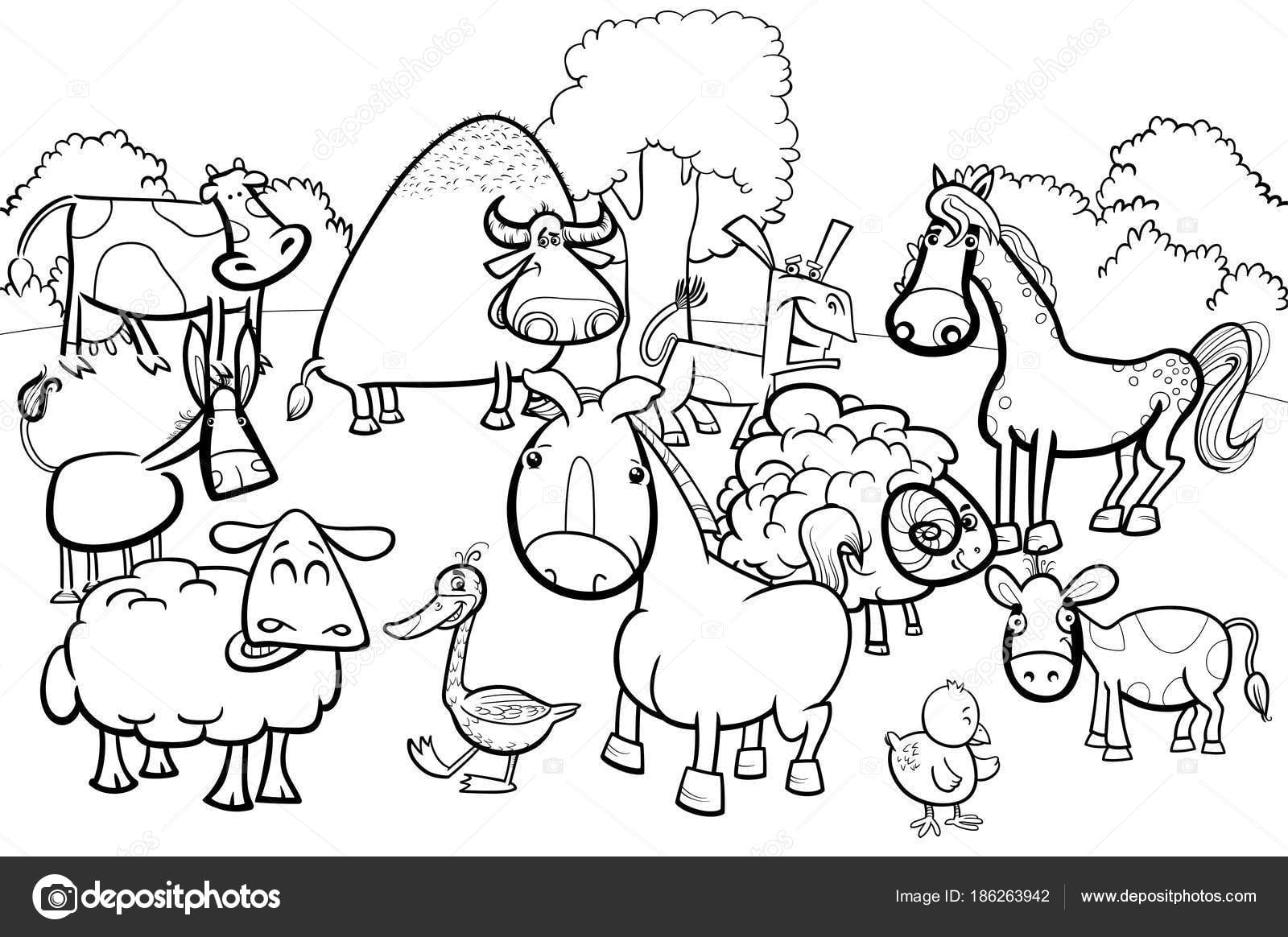 Personagens De Animais De Fazenda Dos Desenhos Animados Livro Para