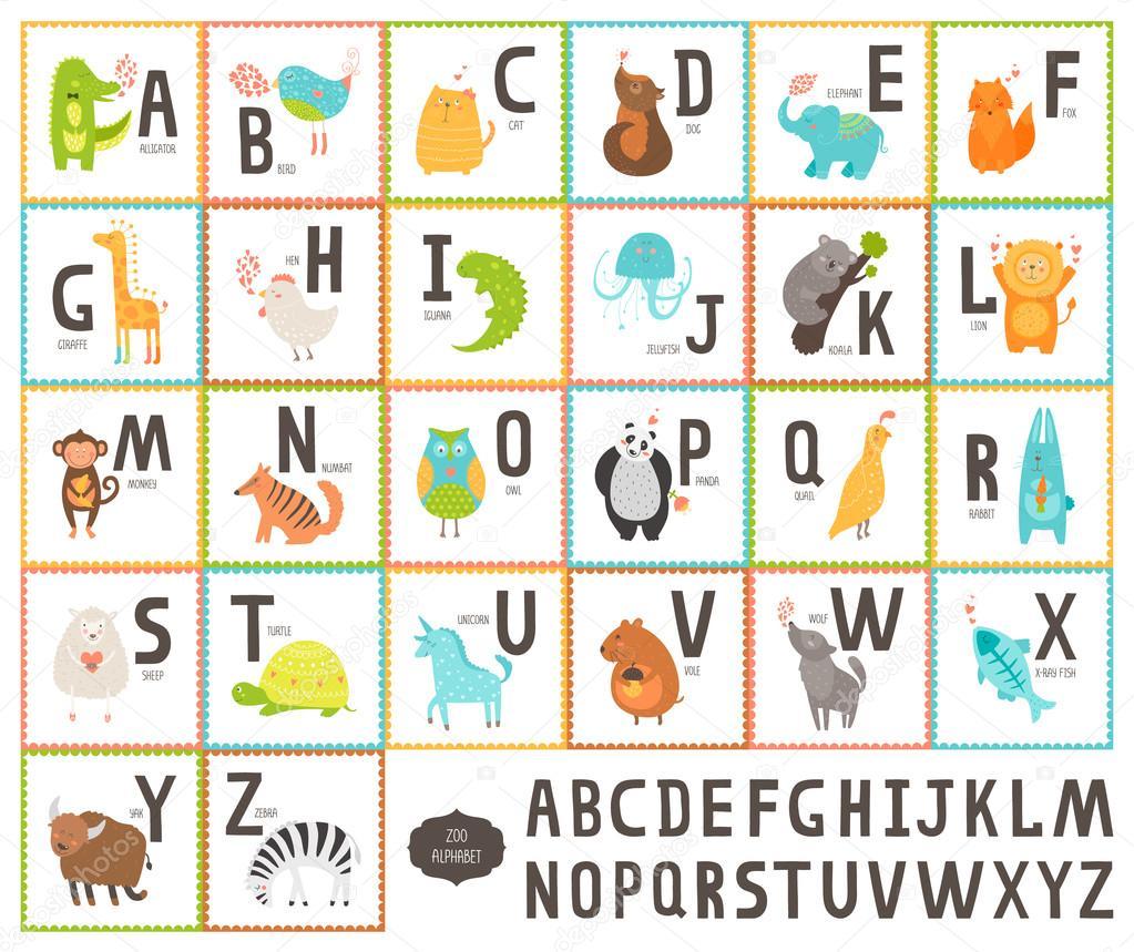 Alfabeto De Vetor Bonito Jardim Zoológico Com Animais Dos Desenhos