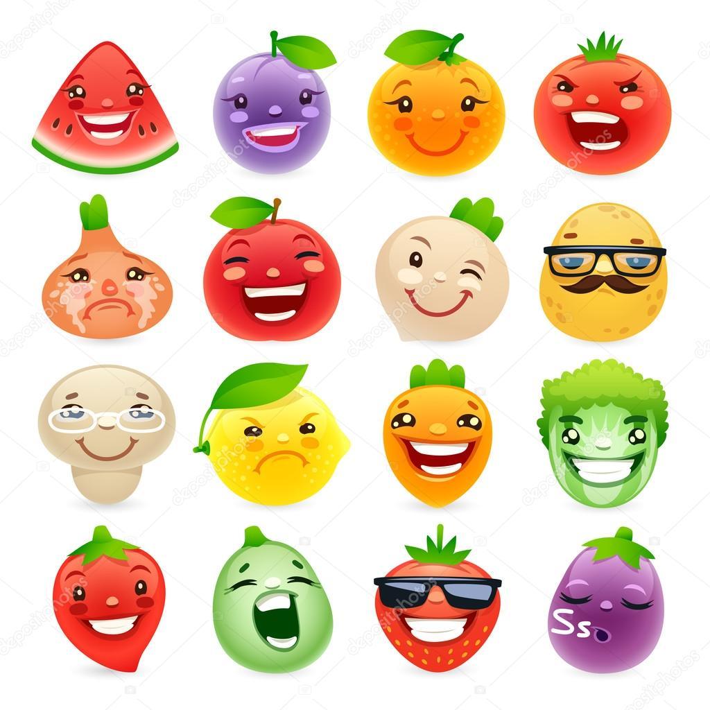Desenho Animado Frutas E Legumes Com Emoções Diferentes — Vetor De