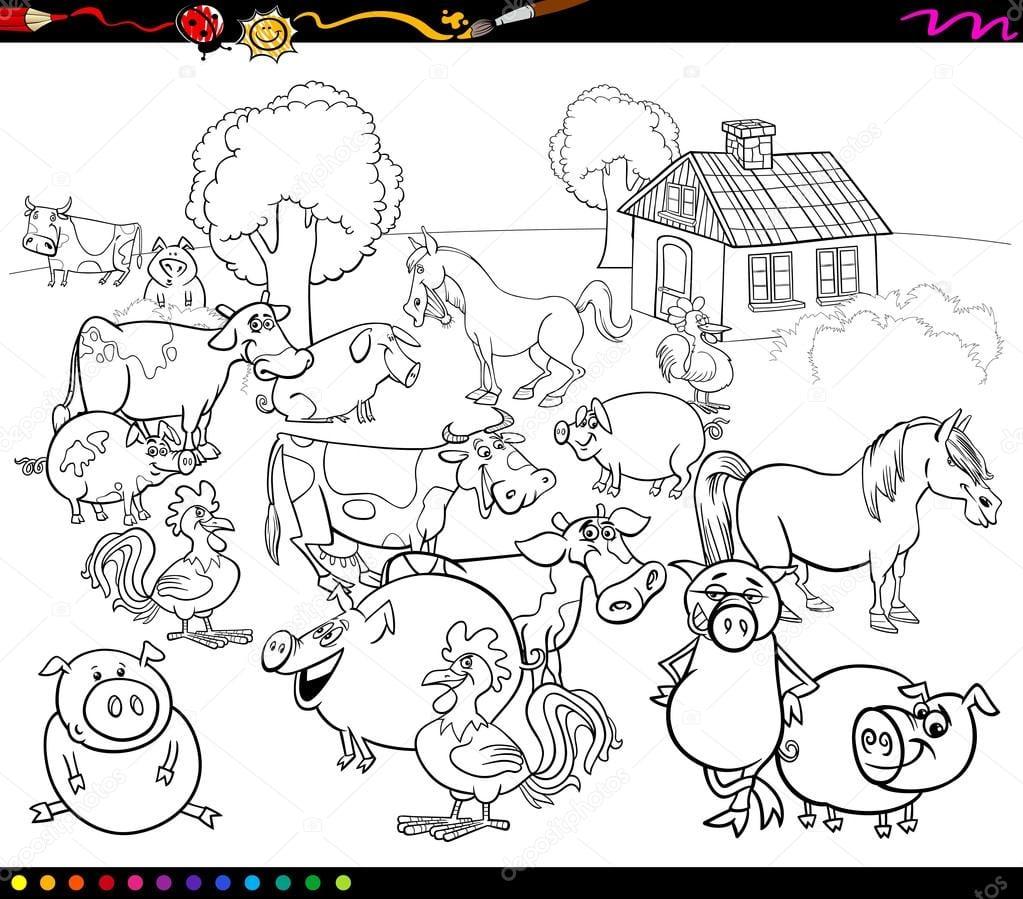 Animais Da Fazenda Desenhos Animados Para Colorir — Vetores De