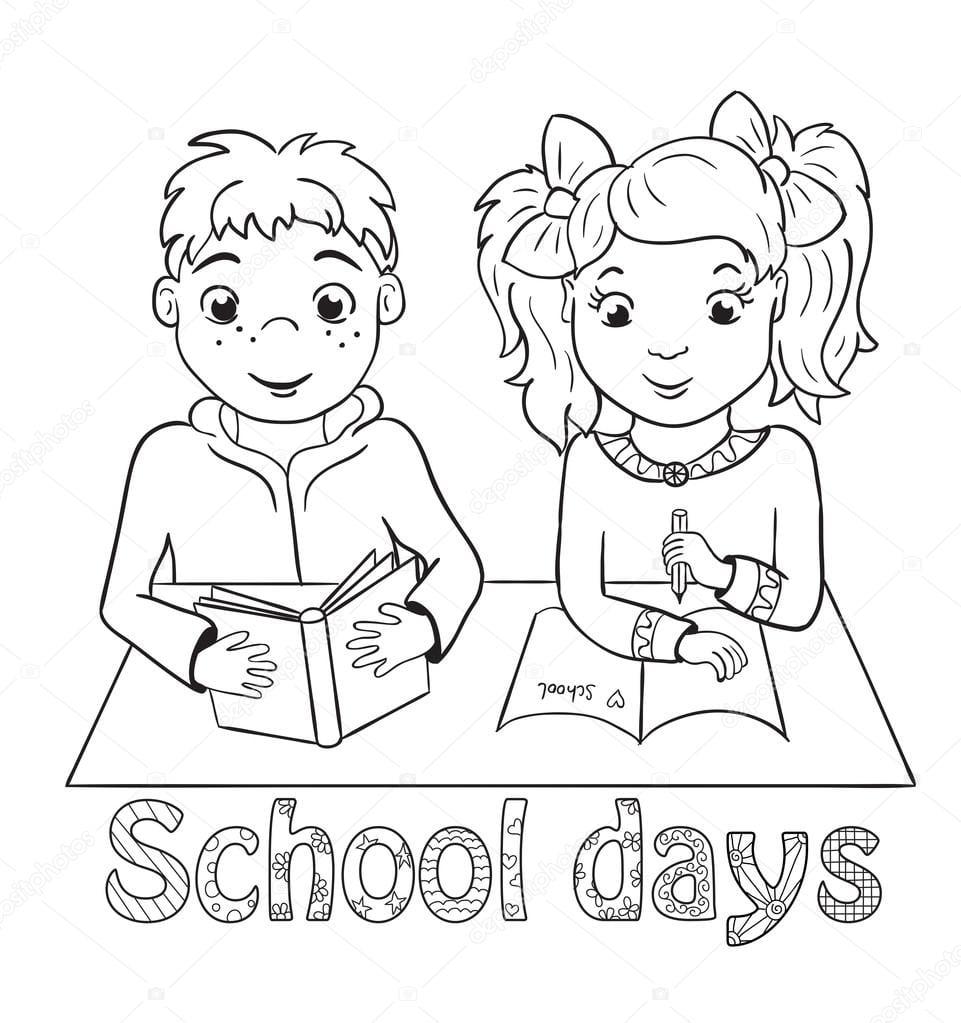 Menino E Menina Sentada Na Secretária De Escola  Livro Para