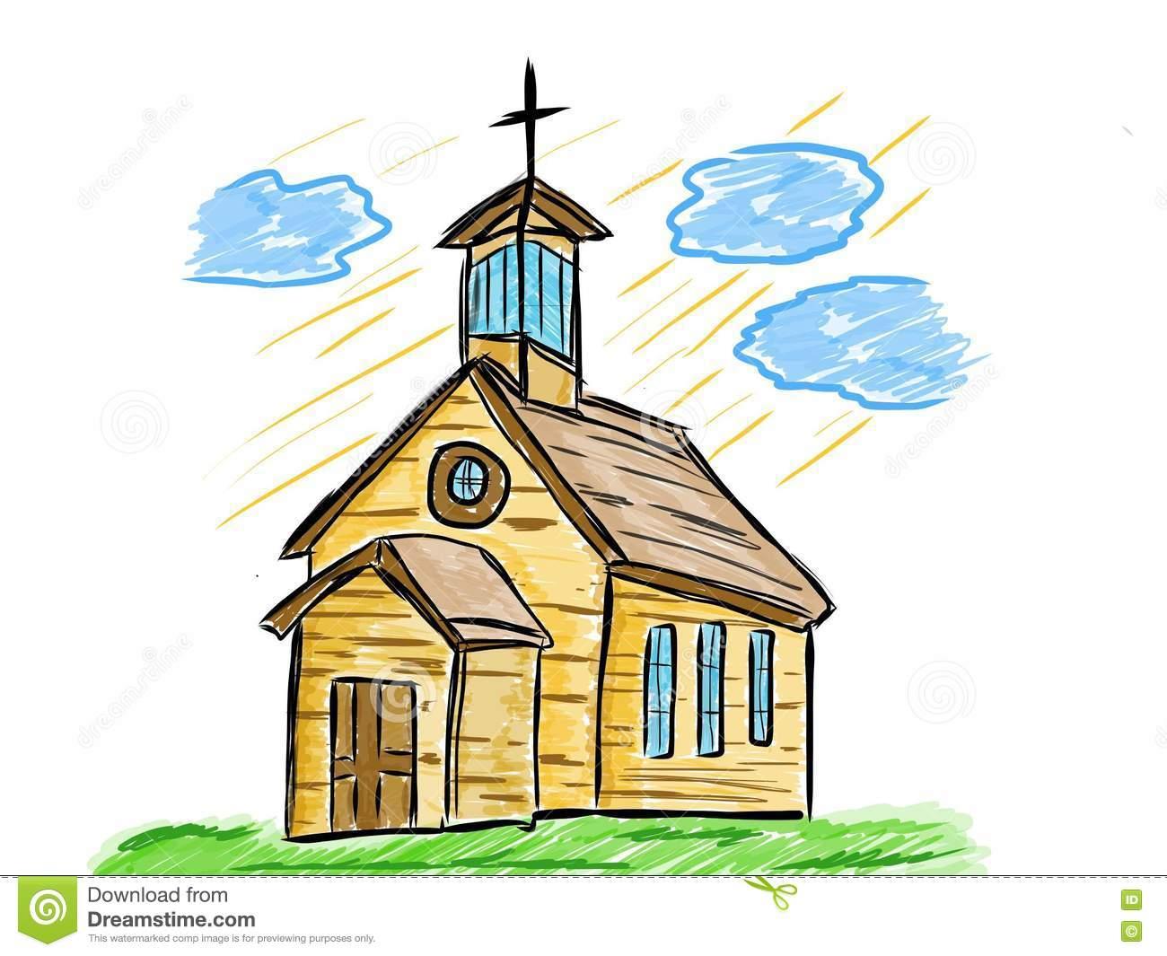Desenho Artístico Da Igreja Velha Ilustração Stock