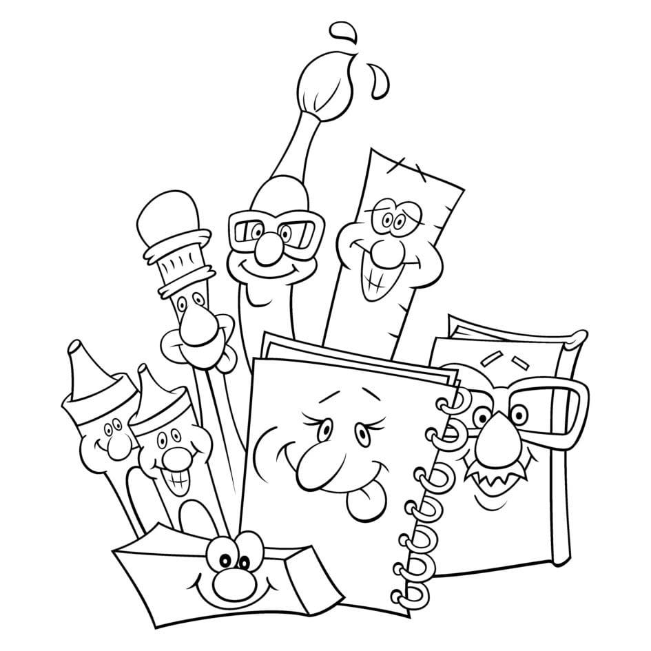 Desenho De Material Escolar Personalizado Para Colorir – Pampekids Net