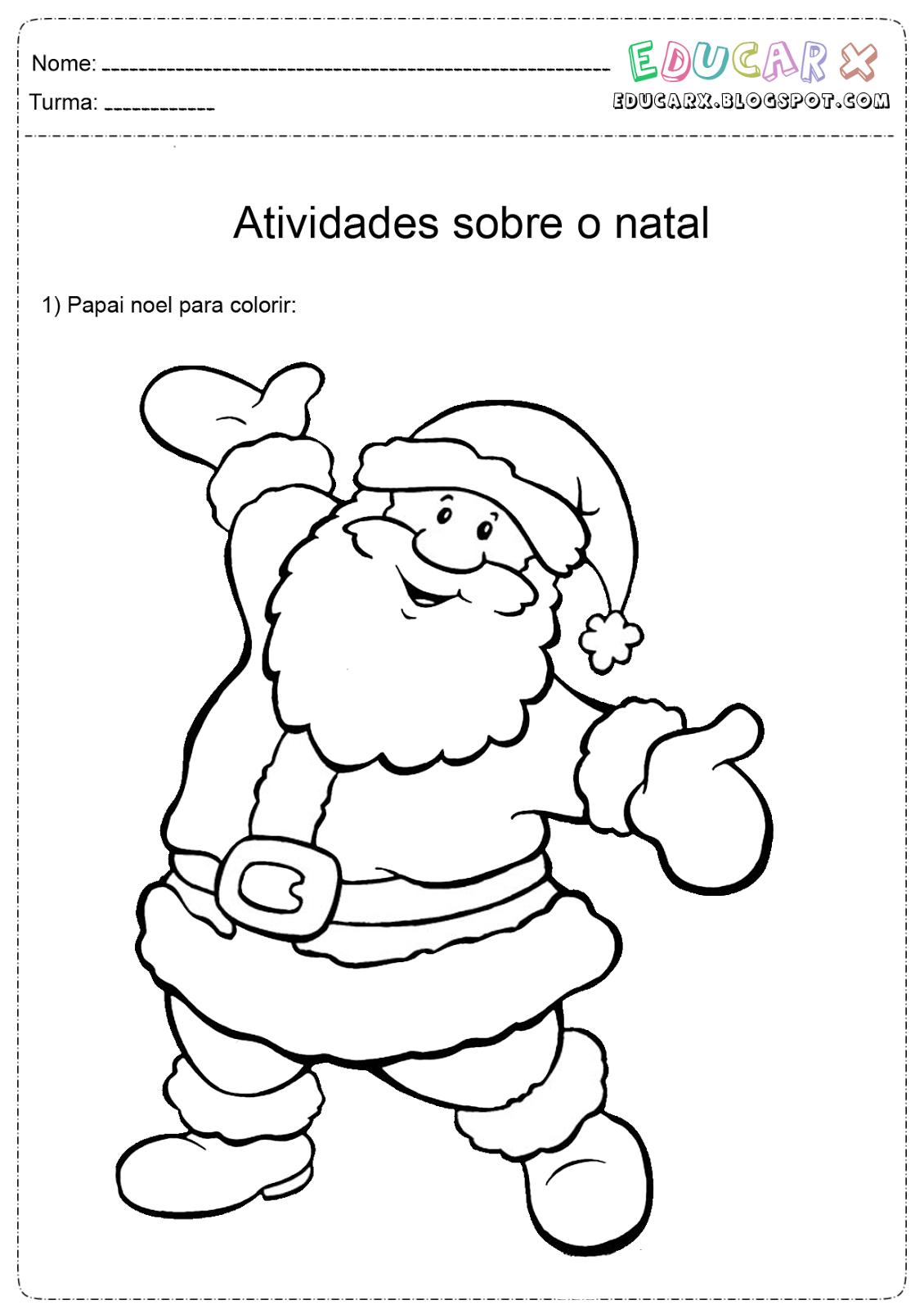 Educar X Papai Noel Para Colorir, Pintar E Imprimir – Pampekids Net