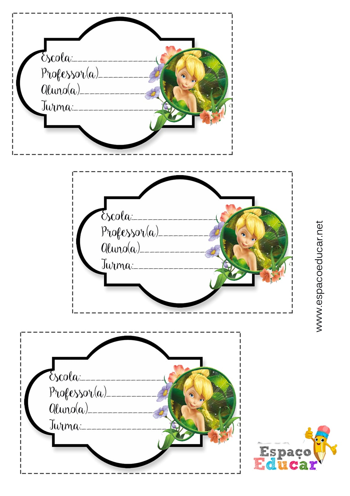 Lindas Etiquetas Da Sininho Tinkerbell Para Imprimir