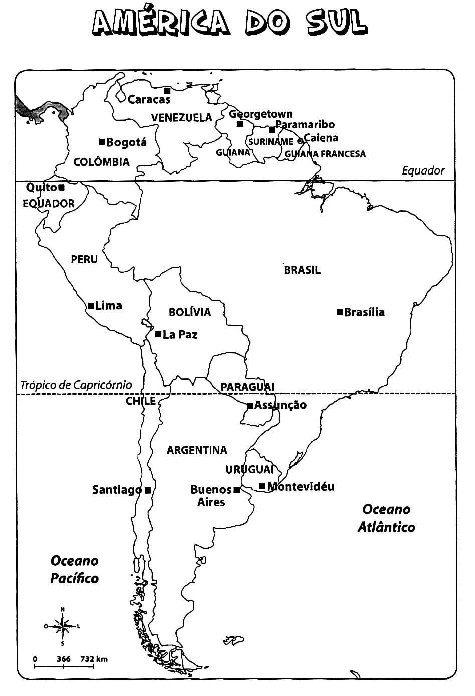 Mapa Da America Do Sul Para Colorir E Imprimir