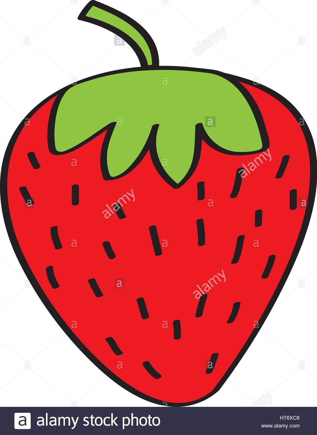 Ícone De Desenho De Frutas Frescas De Morango Ilustração Do Vetor