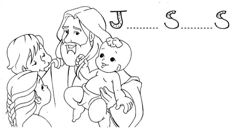 Desenhos Das Crianças E Jesus Para Colorir