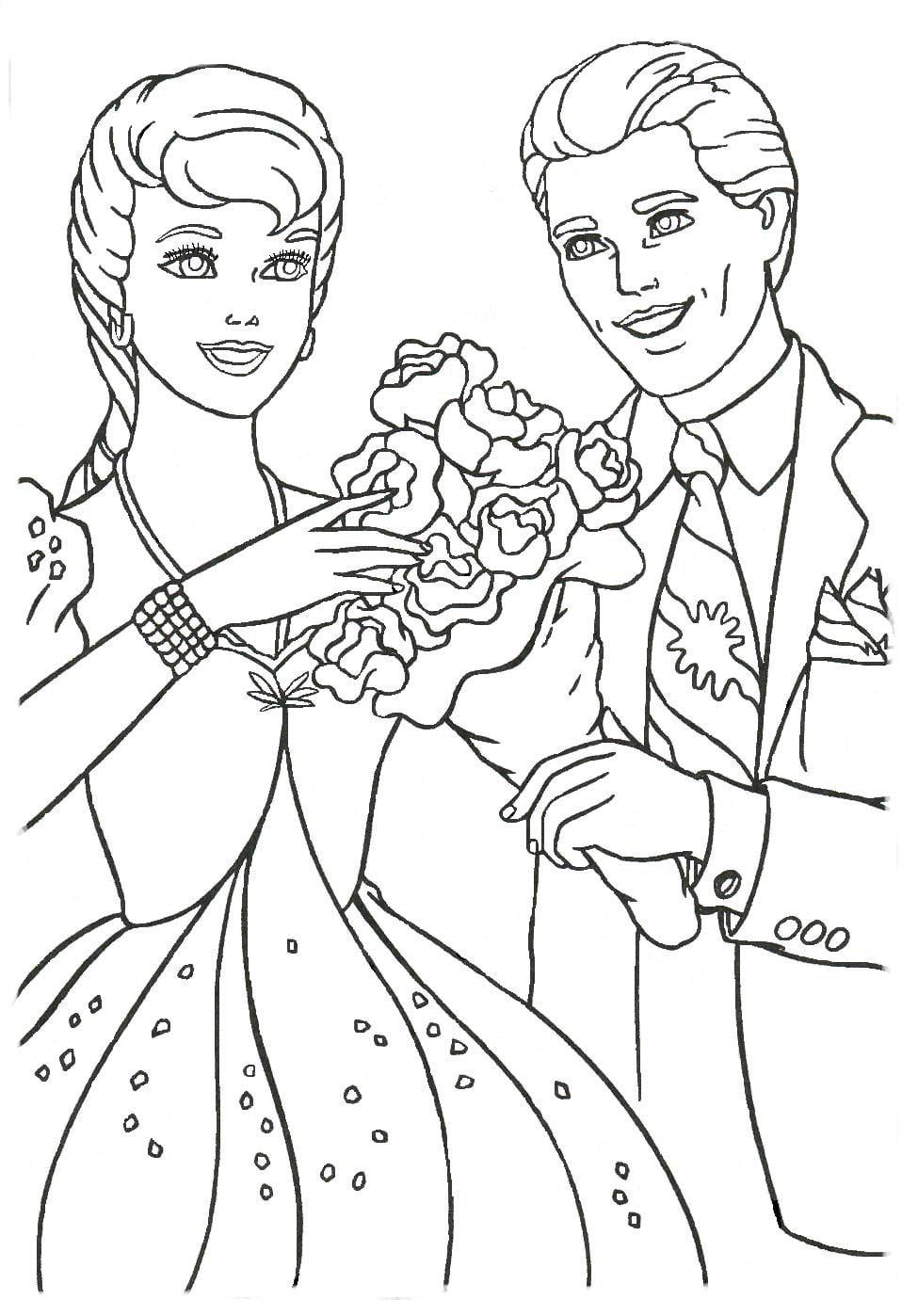 Desenho De Ken Dando Buquê De Flores à Barbie Para Colorir