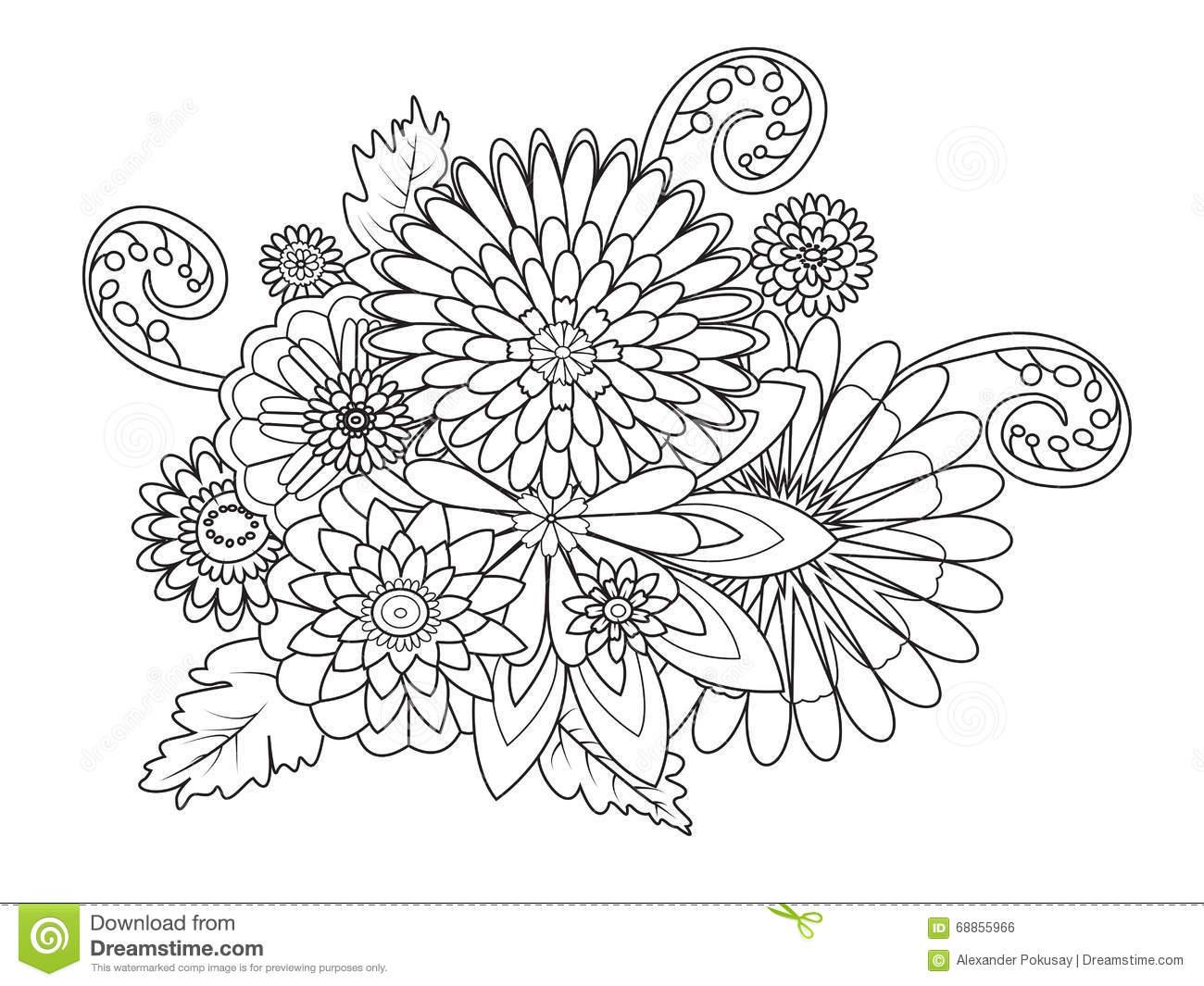 Livro Para Colorir Do Ornamento Das Flores O Vetor Dos Adultos On