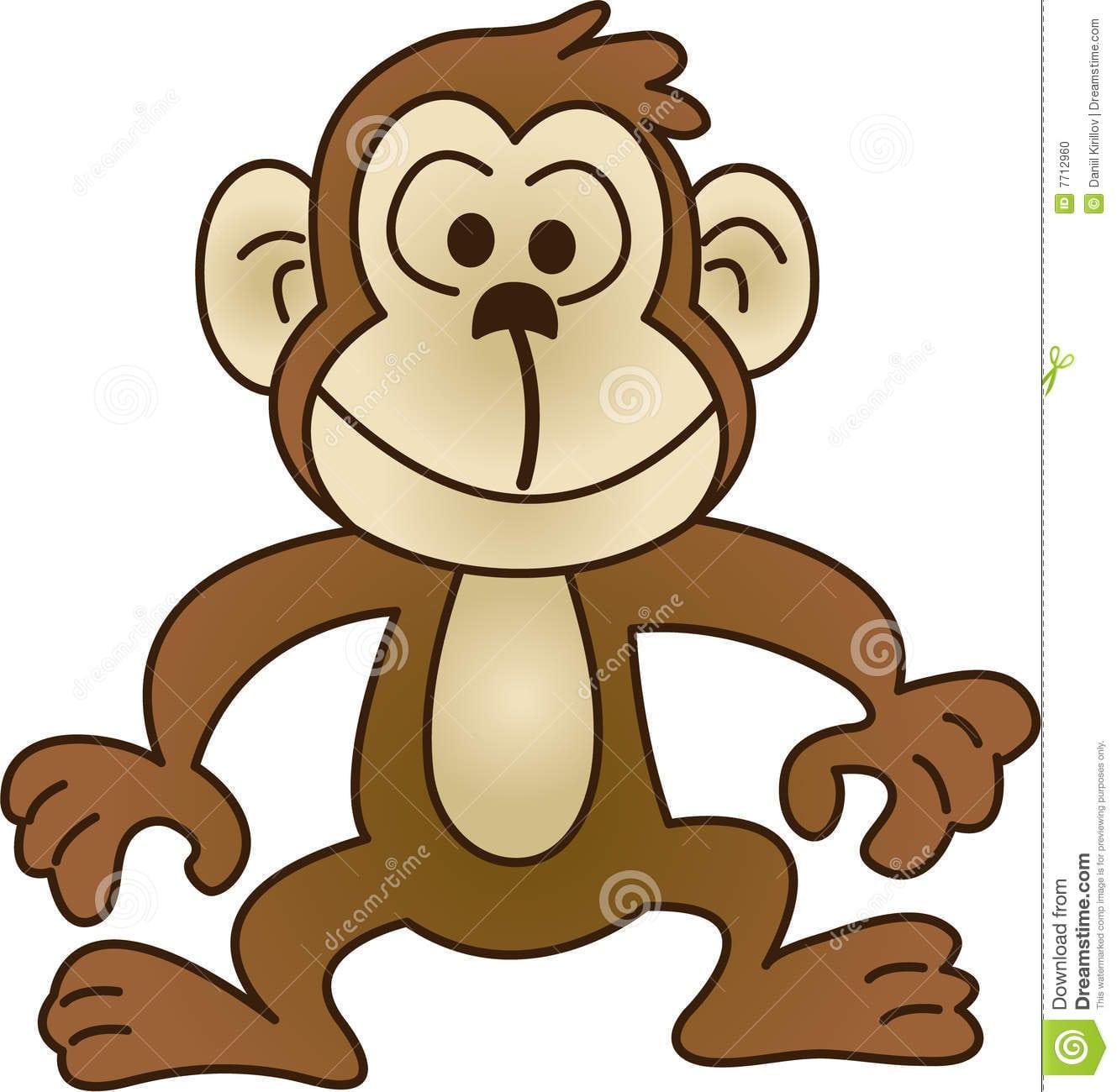Desenhos Animados Da Cara Alegre Do Macaco Ilustração Do Vetor