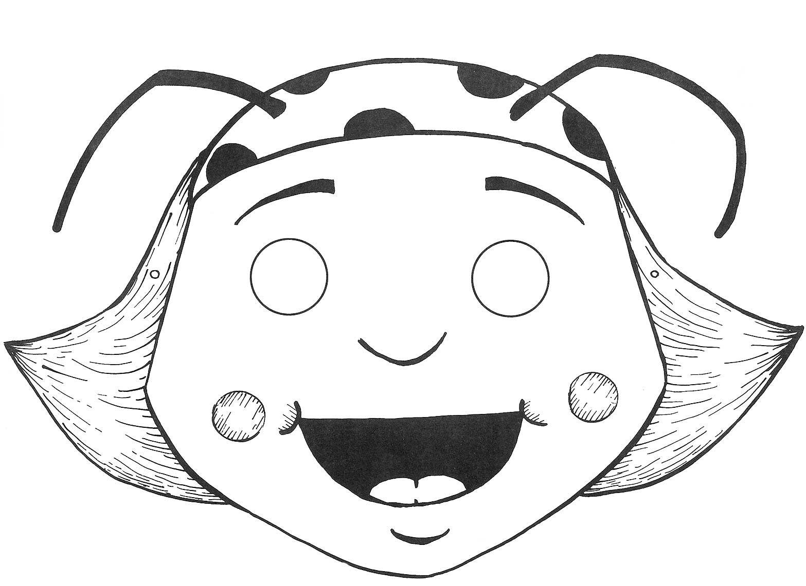 Desenho De Máscara Da Dona Baratinha Para Colorir