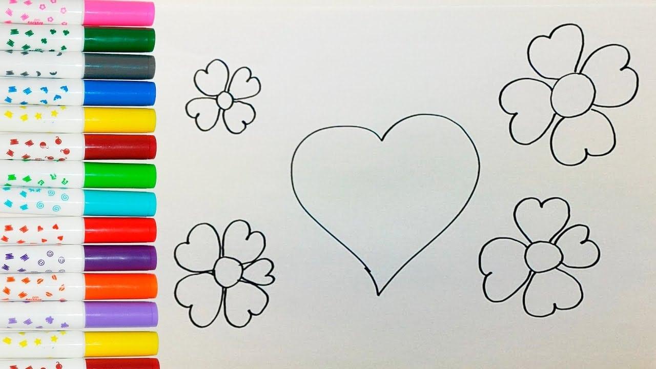 Como Desenhar E Colorir CoraÇÃo E Flores De CoraÇÃo