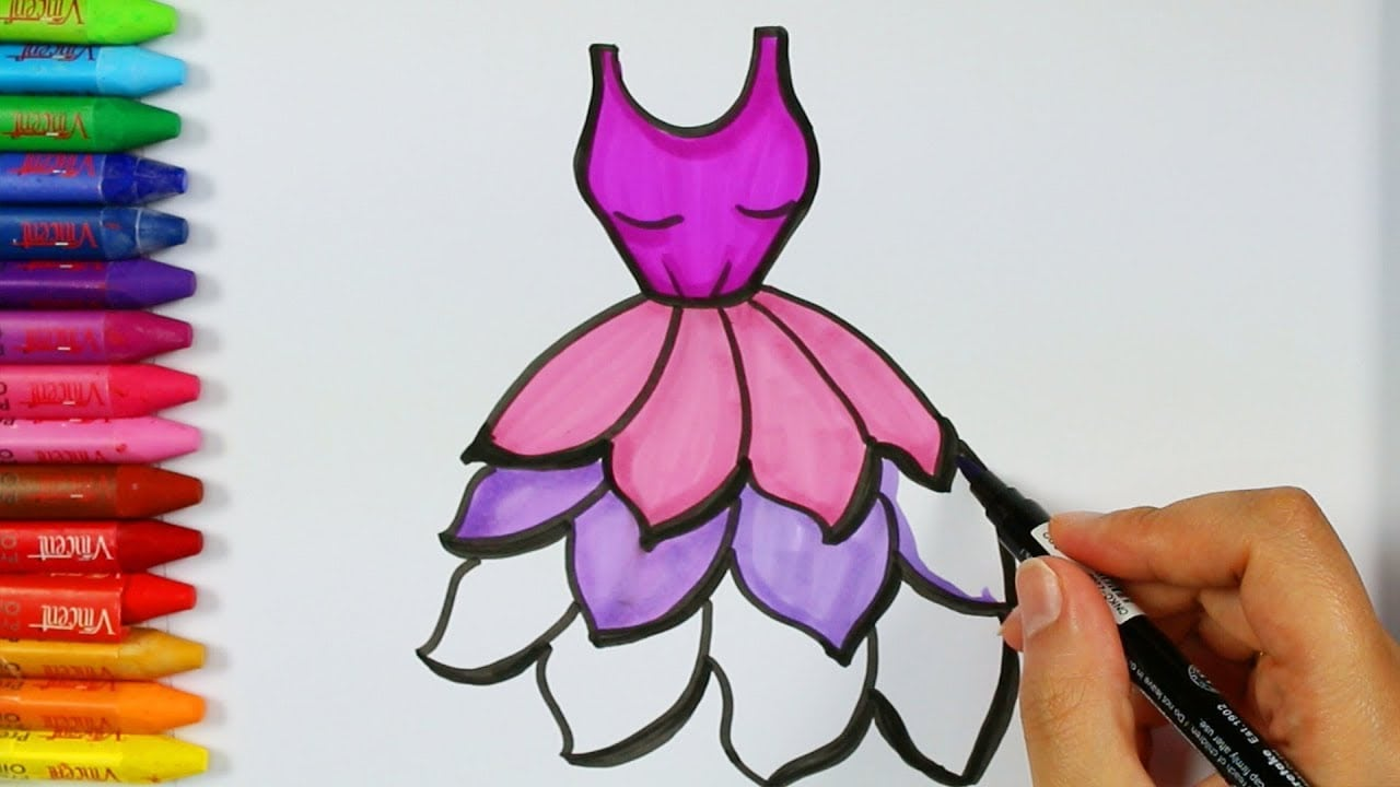 Cómo Dibujar Vestido Púrpura💗