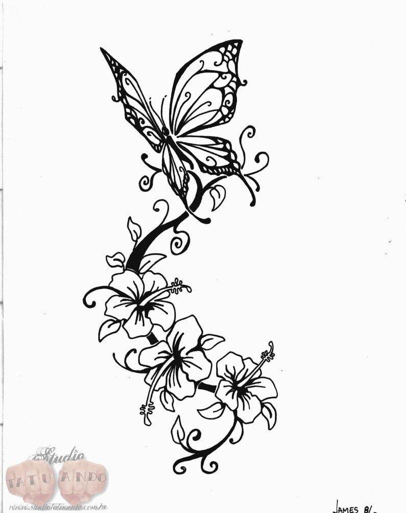 Desenhos De Flores E Borboletas Para Colorir – Pampekids Net