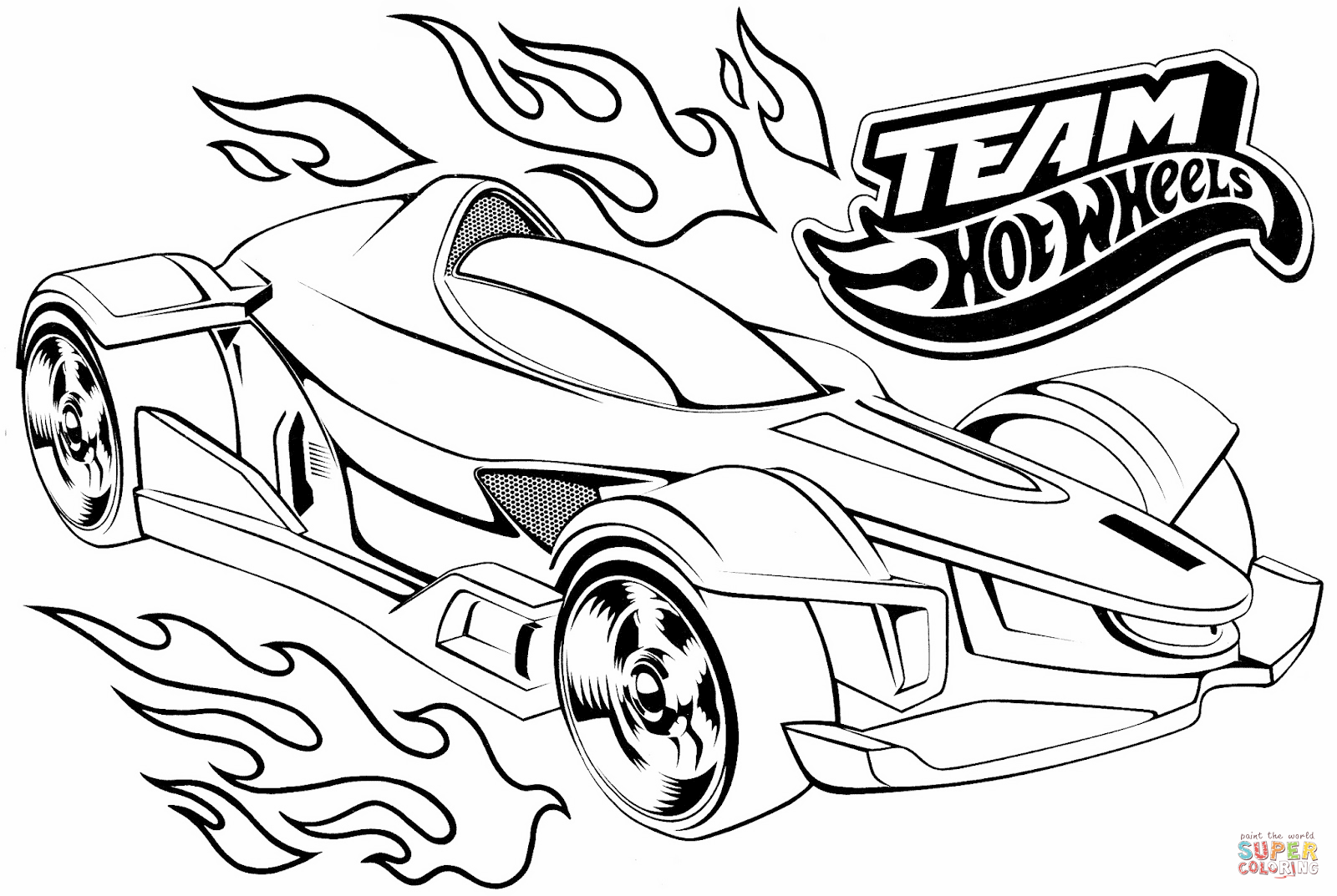 Team Hot Wheels Coloring Page Free Printable Pages And Wheel
