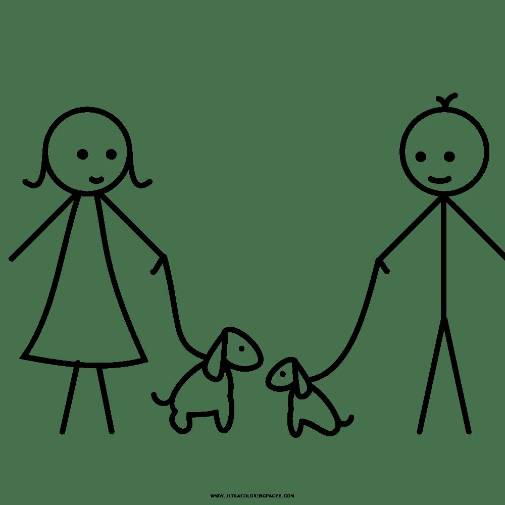 Casal Com Animal De Estimação Desenho Para Colorir