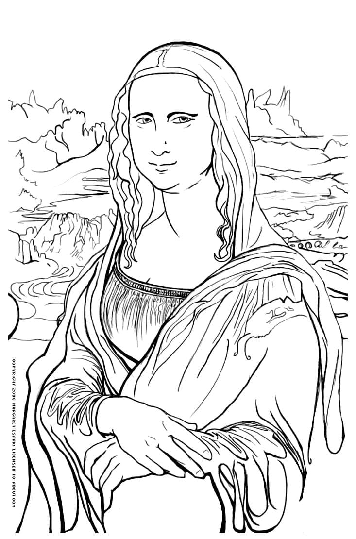 Desenho Da Monalisa Para Pintar