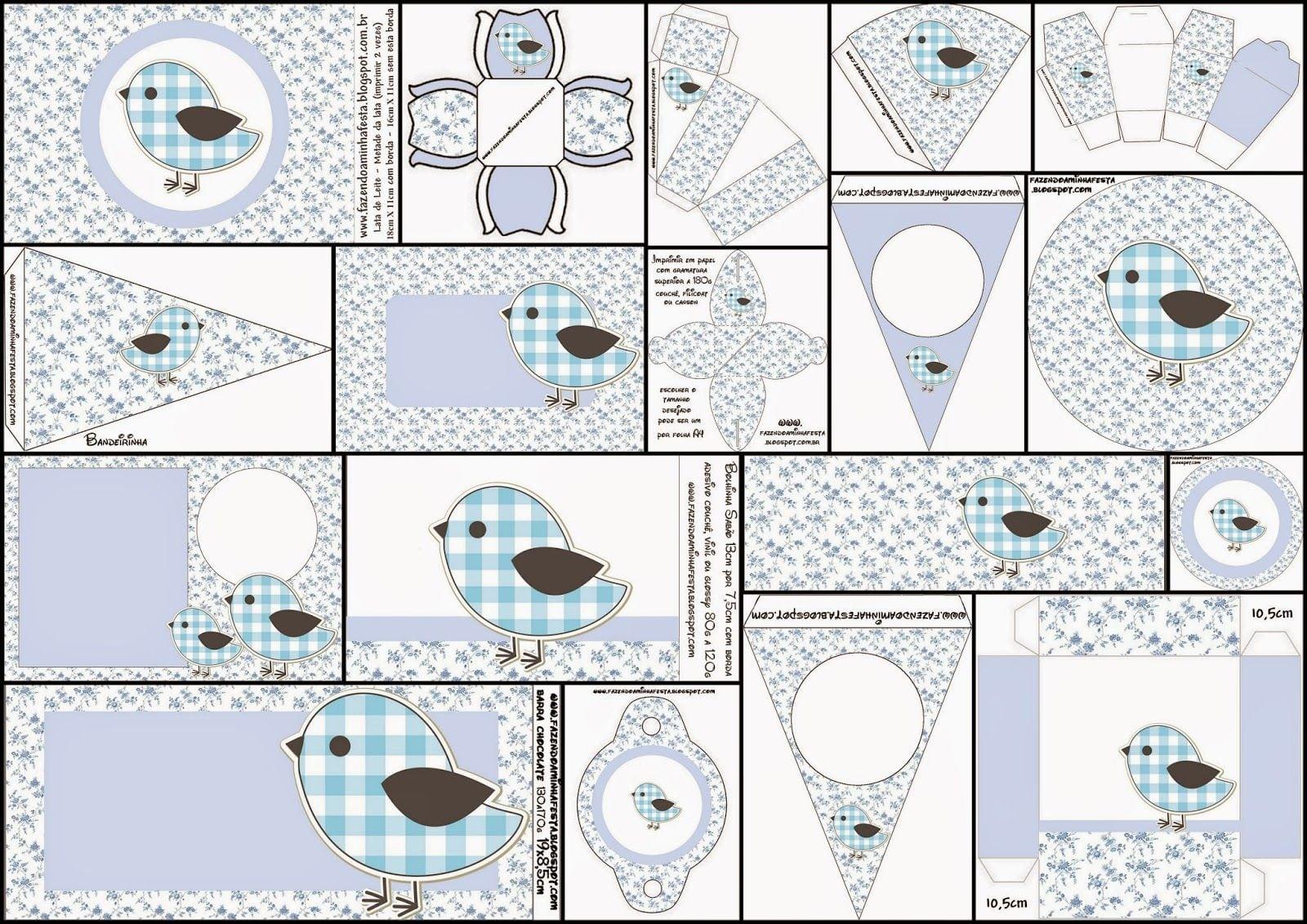 Pájaros En Fondo Shabby Chic  Completo Kit Para Fiestas Para