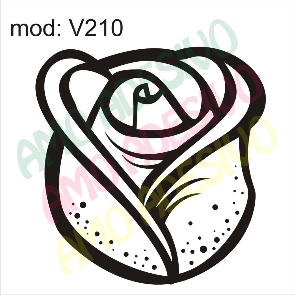 Adesivo V210 Flor Rosa Desenho Abstrato Decorativo De Parede