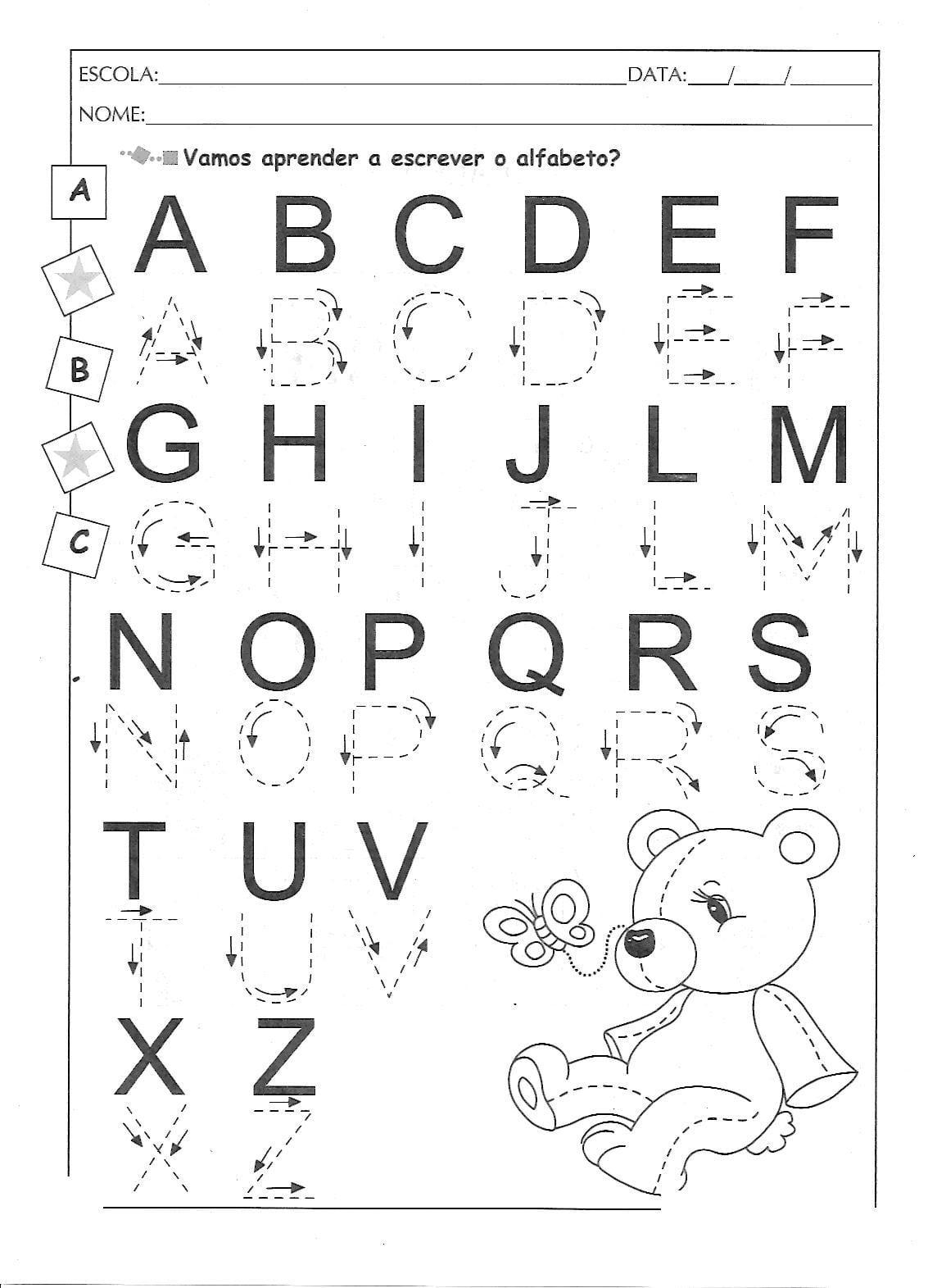 Alfabeto Pontilhado Ilustrado Para Imprimir — SÓ Escola