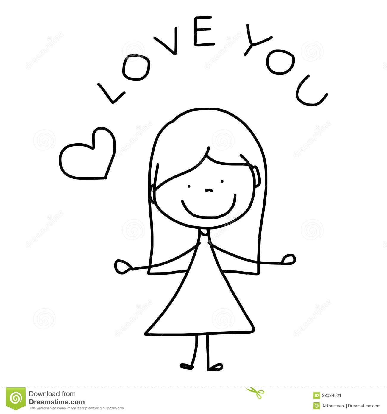 Amor Desenhado à Mão Dos Desenhos Animados Ilustração Stock