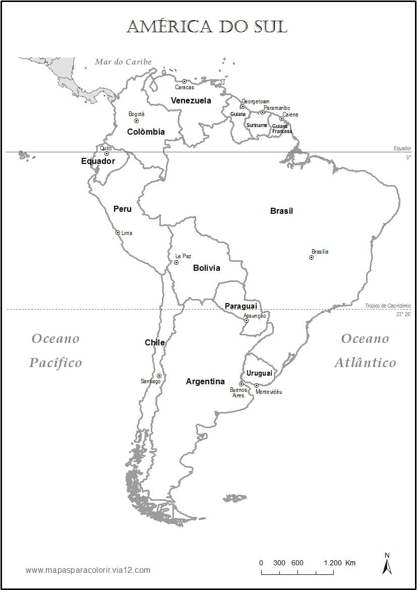 Mapa Para Colorir America Do Sul