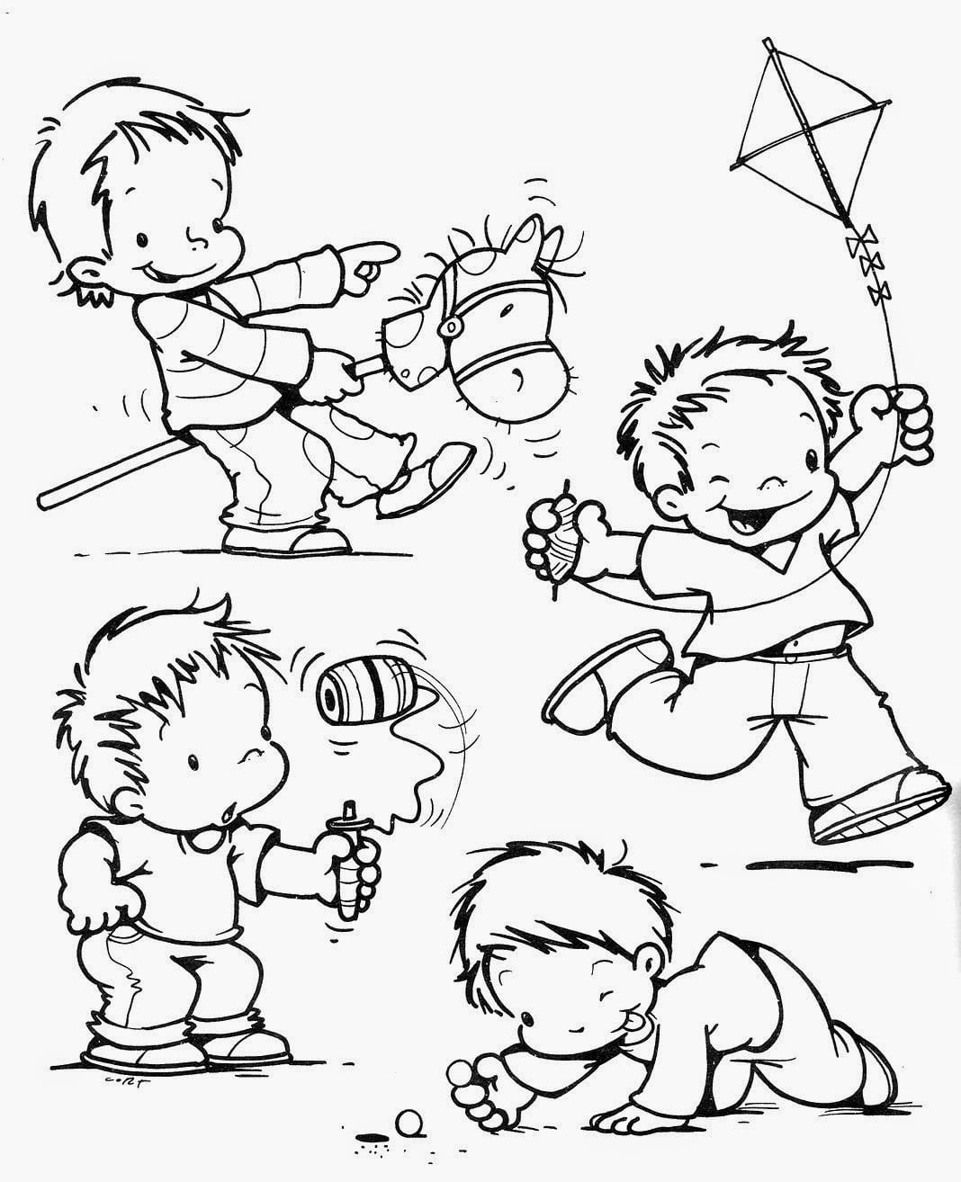 Figuras De Crian As Brincando Para Colorir – Pampekids Net