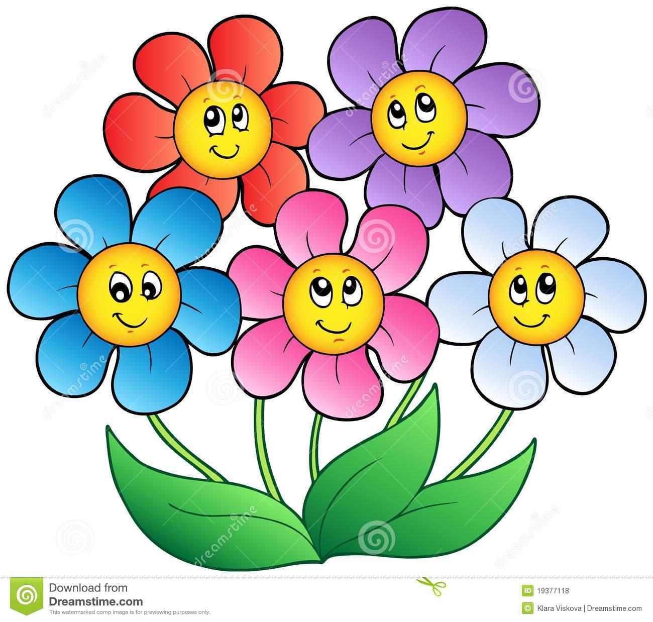 Cinco Flores Dos Desenhos Animados Ilustração Do Vetor
