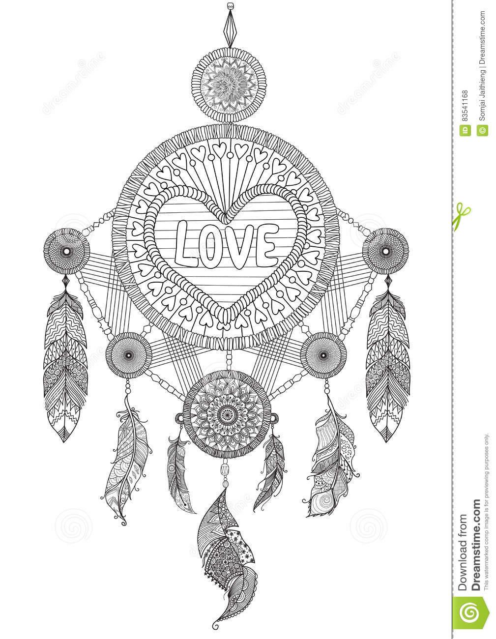 Coletor Do Sonho Da Forma Do Coração Com As Penas Bonitas Para O