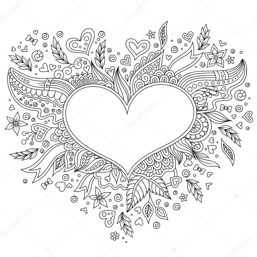 Colorir Página Flor Coração Dia Dos Namorados St Cartão — Stock