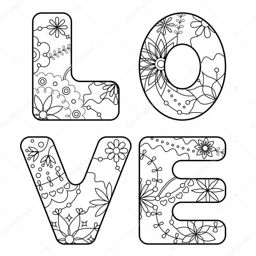 Palavra Amor Pintado Para Colorir — Vetores De Stock © Marishayu