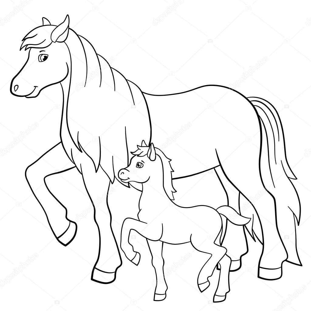 Páginas Para Colorir  Animais Da Fazenda  Mãe Cavalo Com Potro