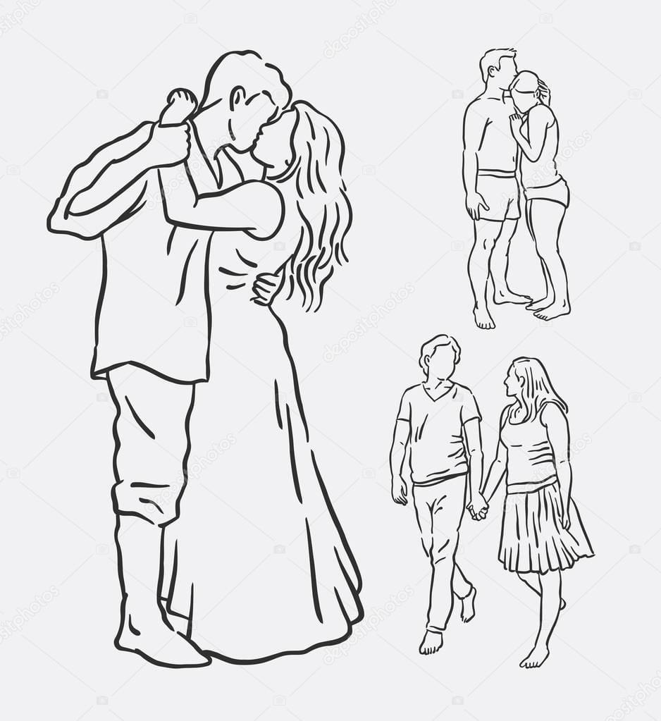 Amor Casal Romântico Linha Arte Desenho — Vetores De Stock