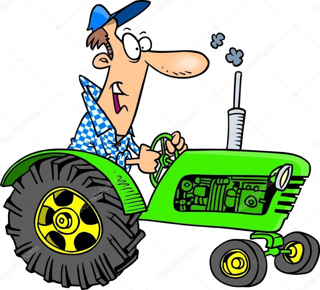 Trator De Agricultor Dos Desenhos Animados — Vetor De Stock