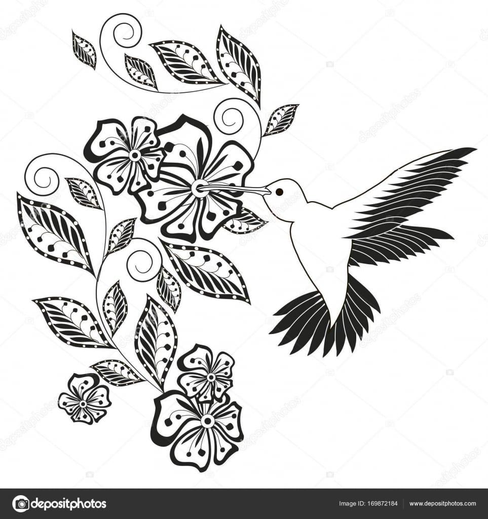Monocromático Mão Desenhada Floral Decorativo, Beija