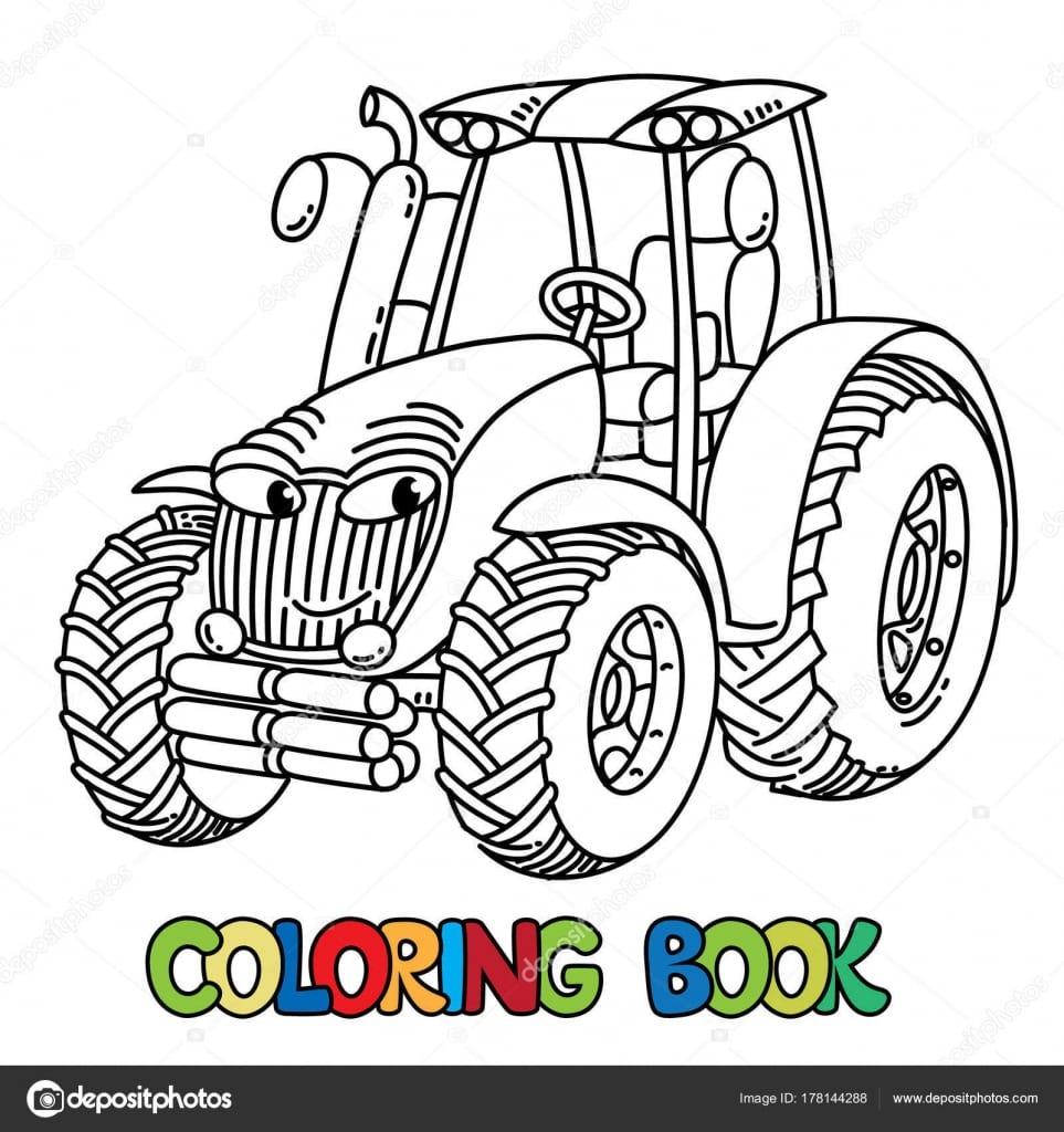 Trator Pequeno Engraçado Com Os Olhos  Livro De Colorir — Vetores