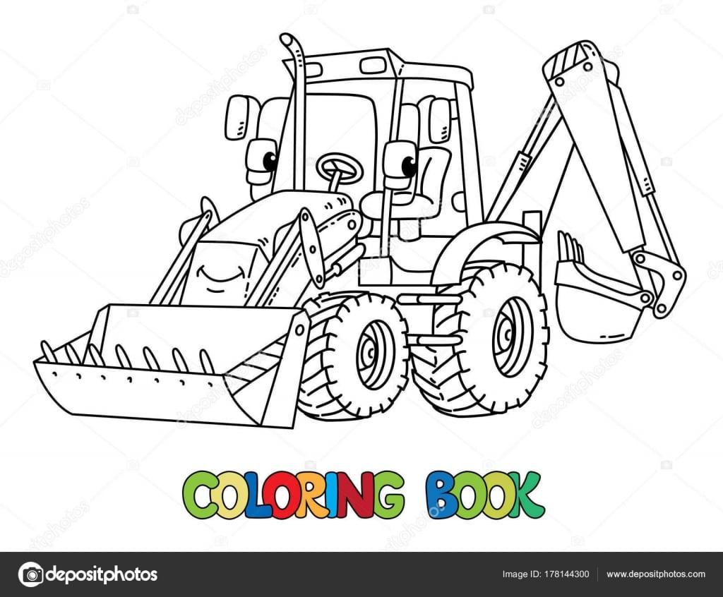 Trator Da Construção Engraçada Com Os Olhos  Livro De Colorir