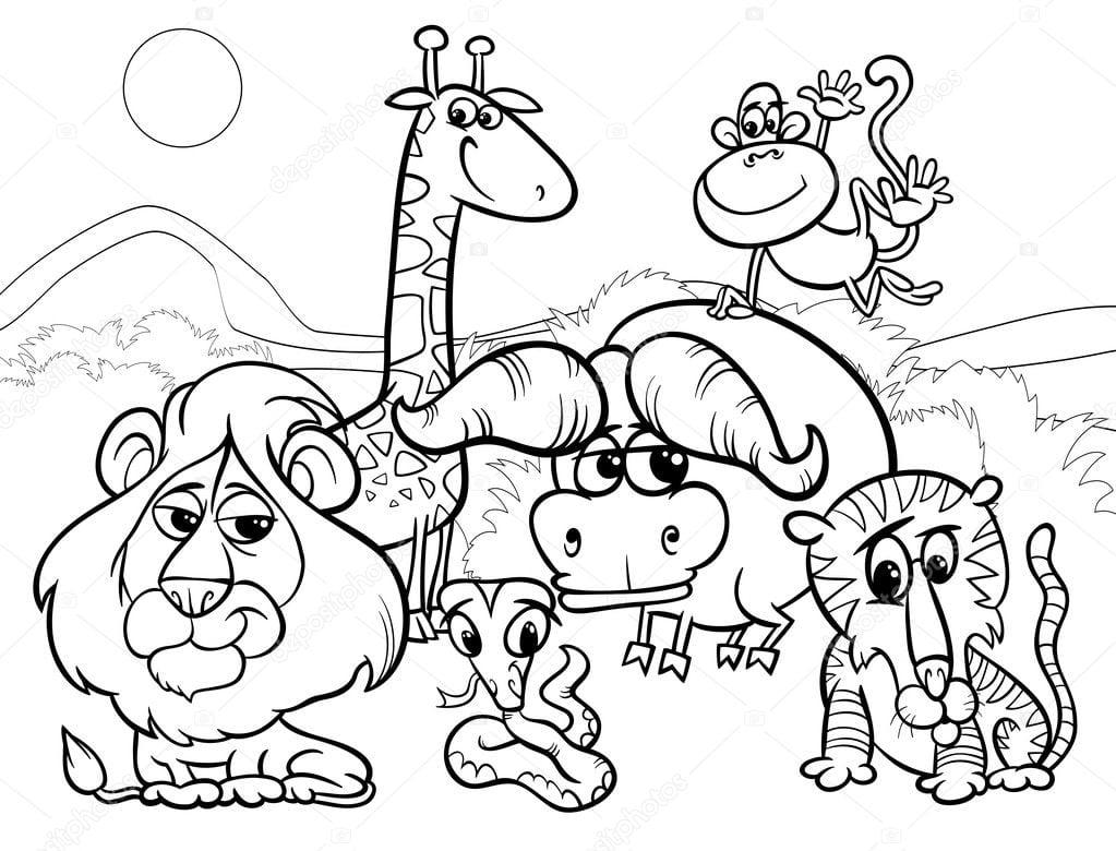 Página De Animais Selvagens Dos Desenhos Animados Para Colorir