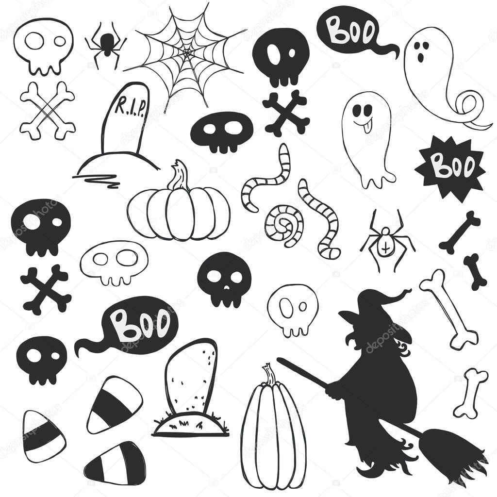 Halloween Doodles Com Fantasmas Dos Desenhos Animados — Vetor De