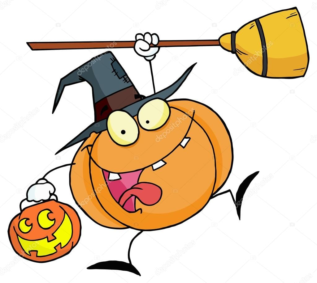 Desenhos Animados De Abóbora De Halloween Bruxa — Vetor De Stock