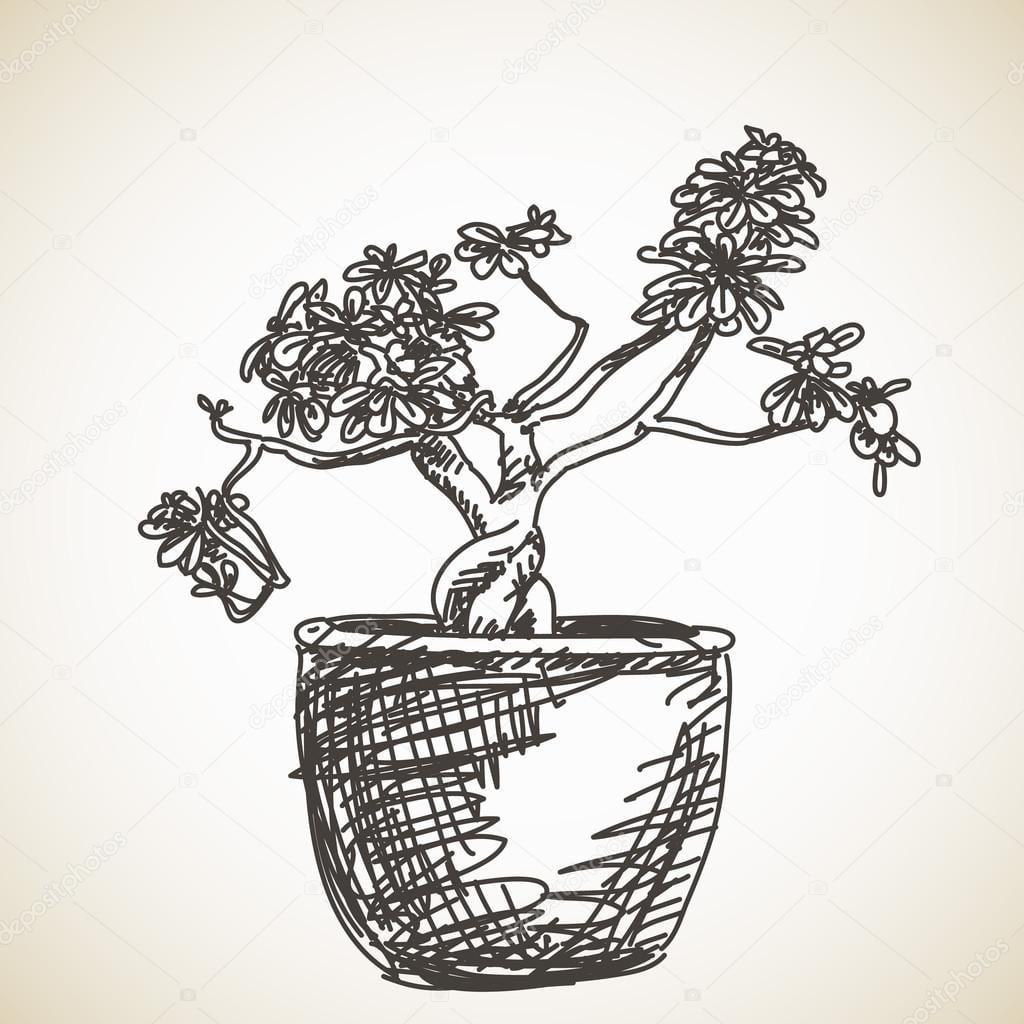 Pequena árvore Em Panela De Barro — Vetor De Stock © Olgatropinina