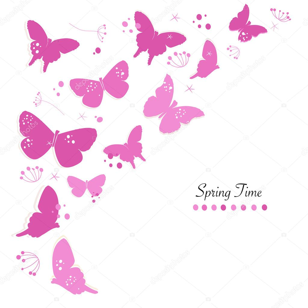 Borboletas Cor De Rosa Desenho E Abstrato Flores Primavera Tempo
