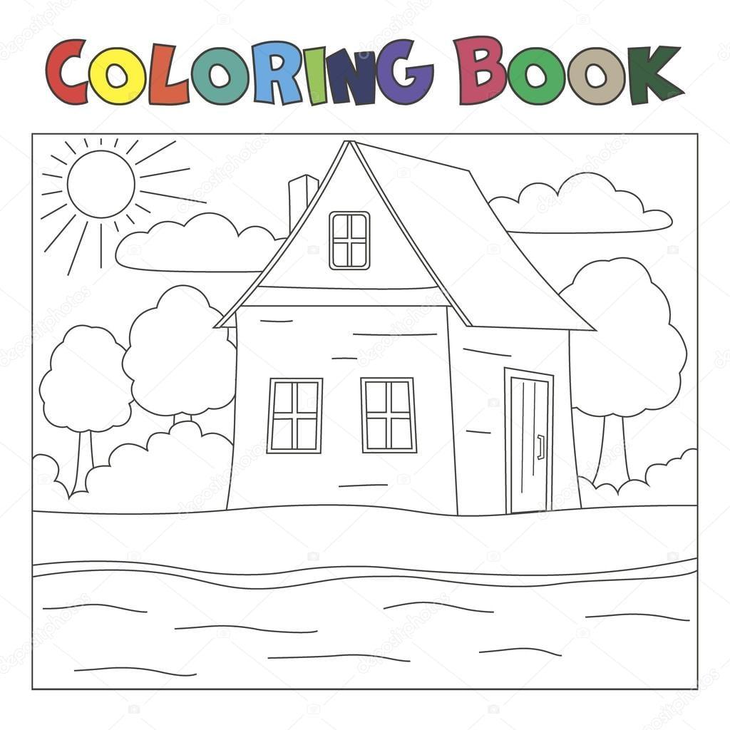 Livro De Colorir Com Casa E Rio  Paisagem Da Fazenda — Vetores De