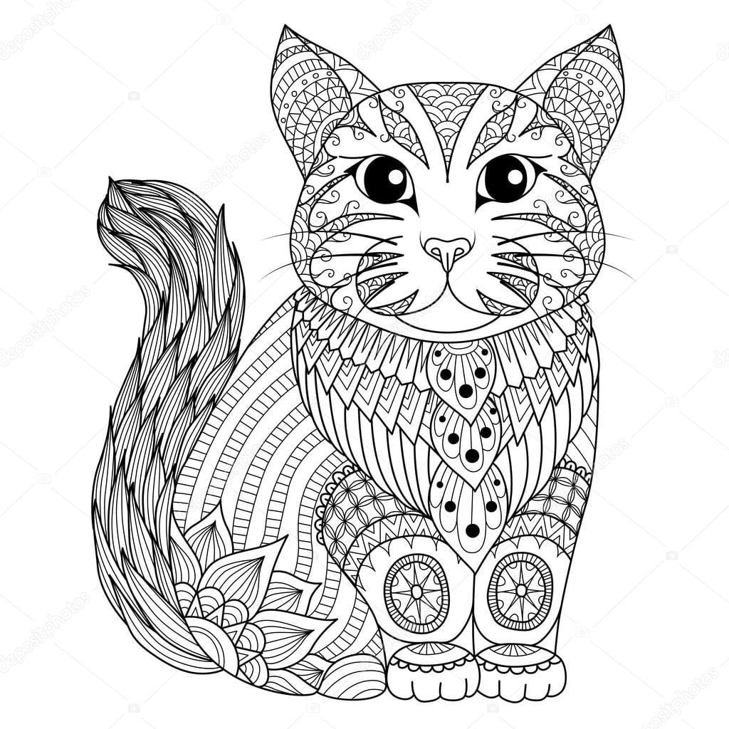 Gato De Zentangle Desenho Para Colorir Página, Efeito De Desenho